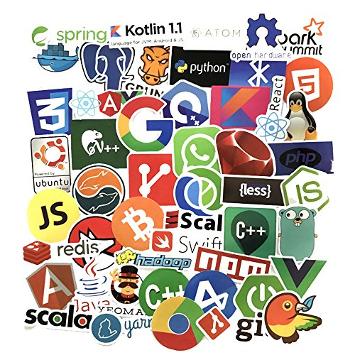 Sanmatic 50Pcs Laptop Stickers for Developer Programming Language include  Sticker IT logo,C++,Python,Linux,Swift,for