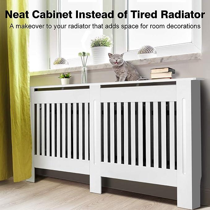 Cubierta de radiador de armario, pintada a mano, diseño moderno de densidad media, color blanco MDF, Blanco, Large