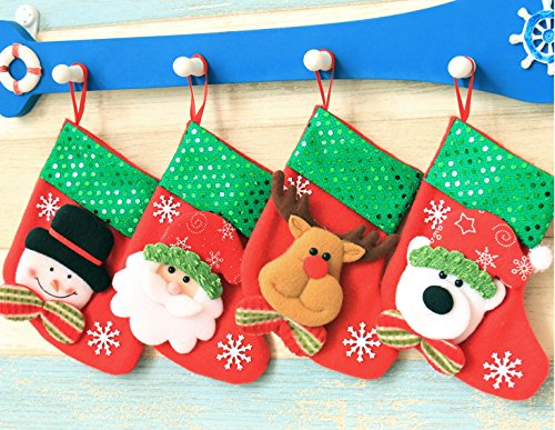 anta Toy Treat Bag Sequined Stockings X'mas Party Decoration Fireplace Decor - Mini Santa, Polar Bear, Snowman and Reindeer; Each 6.2
