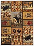 Rugs 4 Less Collection Wilderness Nature Themed Cabin Style Area Rug Design R4L 760 (8'X10')