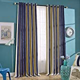 Nibesser Luxury Thickening Chenille Stripe 95% Blackout Curtains Drapes for Bedroom Thermal Insulated Grommet,1 Panel(52W x 84L Inch,Navy blue/Yellow Stripe)