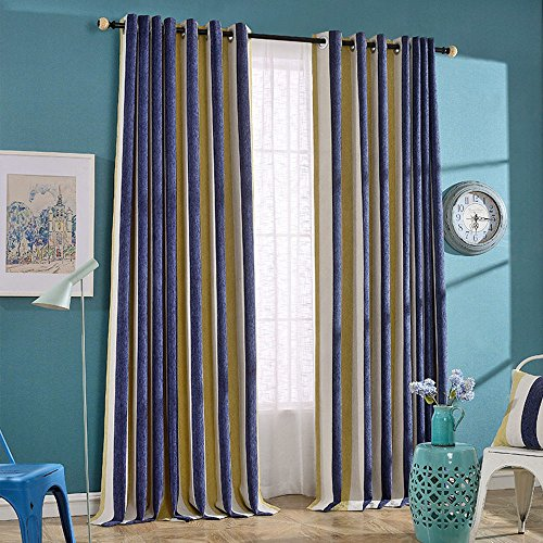 NIBESSER Luxury Thickening Chenille Stripe 95% Blackout Curtains Drapes for Bedroom Thermal Insulated Grommet,1 Panel(52W x 84L Inch,Navy Blue/Yellow Stripe) Blue Stripe Chenille Fabric