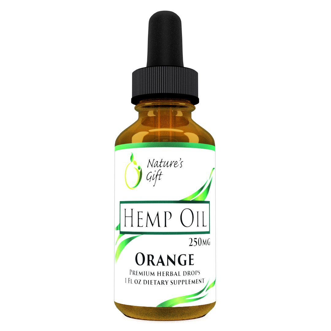 Premium Hemp Oil Drops :: 250mg :: May Help with Pain Relief, Anti-Inflammatory & Joint Support :: Rich in Essential Fatty Acids Omega 3-6-9 :: Non-GMO :: Ultra-Pure Cold-Pressed :: Orange Flavored