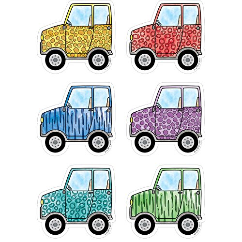 """Creative Teaching Press Cut-Outs, 3"""" Safari Friends Off-Road Vehicles Cut Outs, 3"""" Ctp 3449 with"""