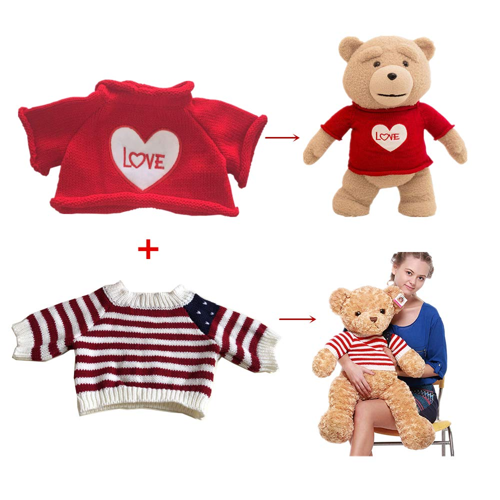 64c70e544c8 2 pcs for Teddy Bear Clothes The Red Sweater With a Heart T-shirt and Stars  Striped Sweater Fit 14