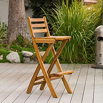 Folding Outdoor Wood Patio Furniture 30 Inch Bar Height Counter Bar Stools  With Backs Are A