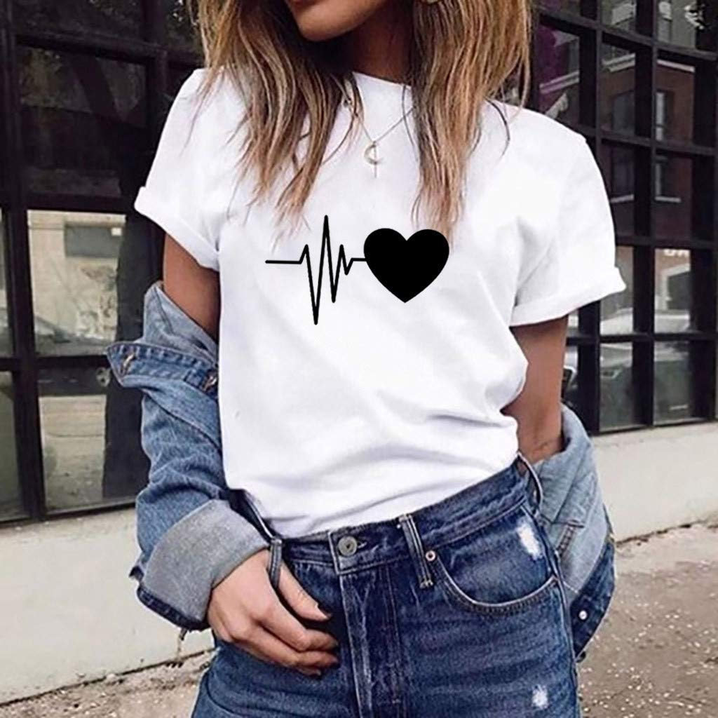 Women's Refreshing Simple Sports T-Shirt Loose Short-Sleeved Heart Print T-Shirt Casual O-Neck Top by ASERTYL (Image #2)