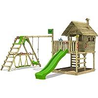 FATMOOSE Kletterturm WackyWorld Mega XXL Spielturm Spielhaus mit Holzdach, Schaukel, Rutsche, Surfanbau, Kletterleiter und integriertem XXL Sandkasten