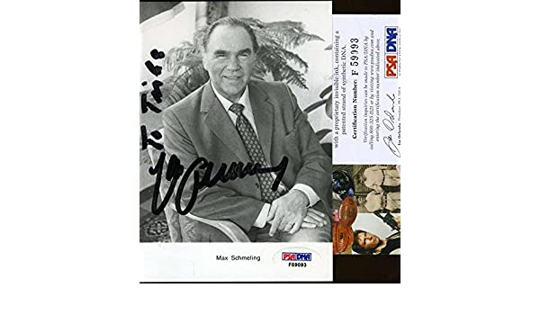 740277c8cb6 Max Schmeling Signed Photograph - Certified 4x6 Authentic - PSA DNA  Certified - Autographed Boxing Photos at Amazon s Sports Collectibles Store