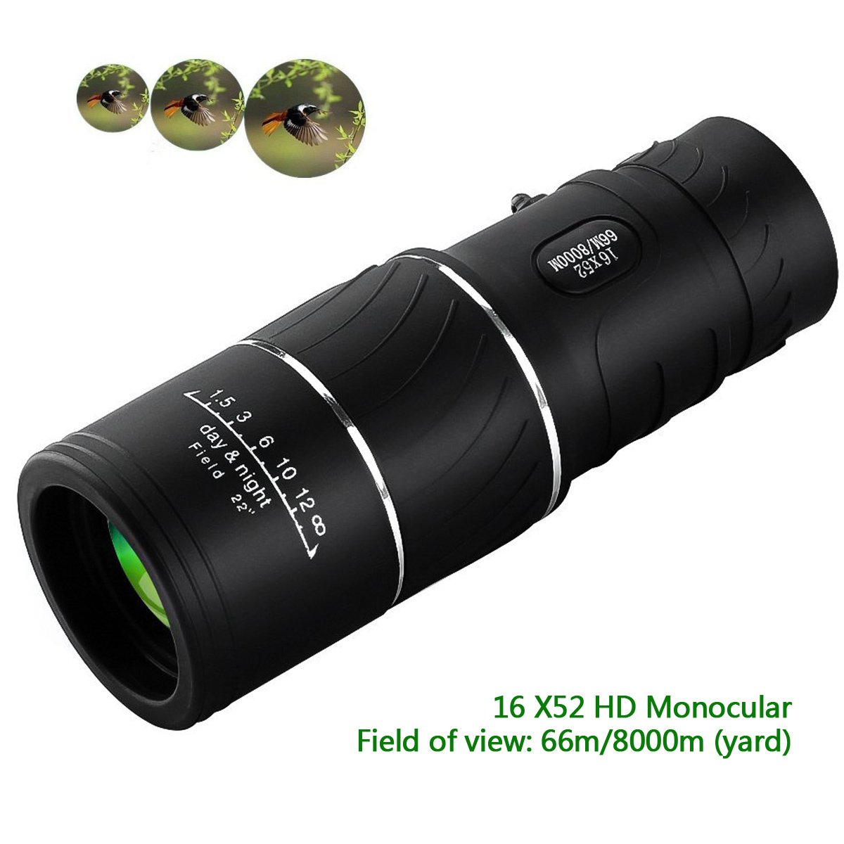 PESTORY Day & Night Vision 16x52 HD Monocular Dual Focus Optics Zoom Telescope 66m/8000m for Birds Watching/ Hunting/ Camping/ Hiking