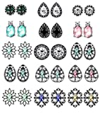 Thunaraz 15Pairs Rhinestone Earrings For Women Vintage Boho Earrings Mixed Colors Crystal Stud Earrings