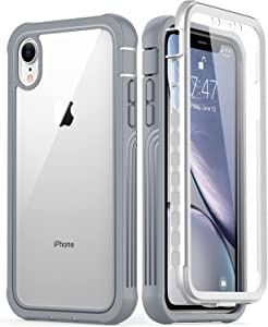 GOODON iPhone XR Case with Built-in Screen Protector,Pass 20 ft. Drop Test Military Grade Shockproof Clear Cover 360 Full Body Protective Phone Case for Apple iPhone XR Grey