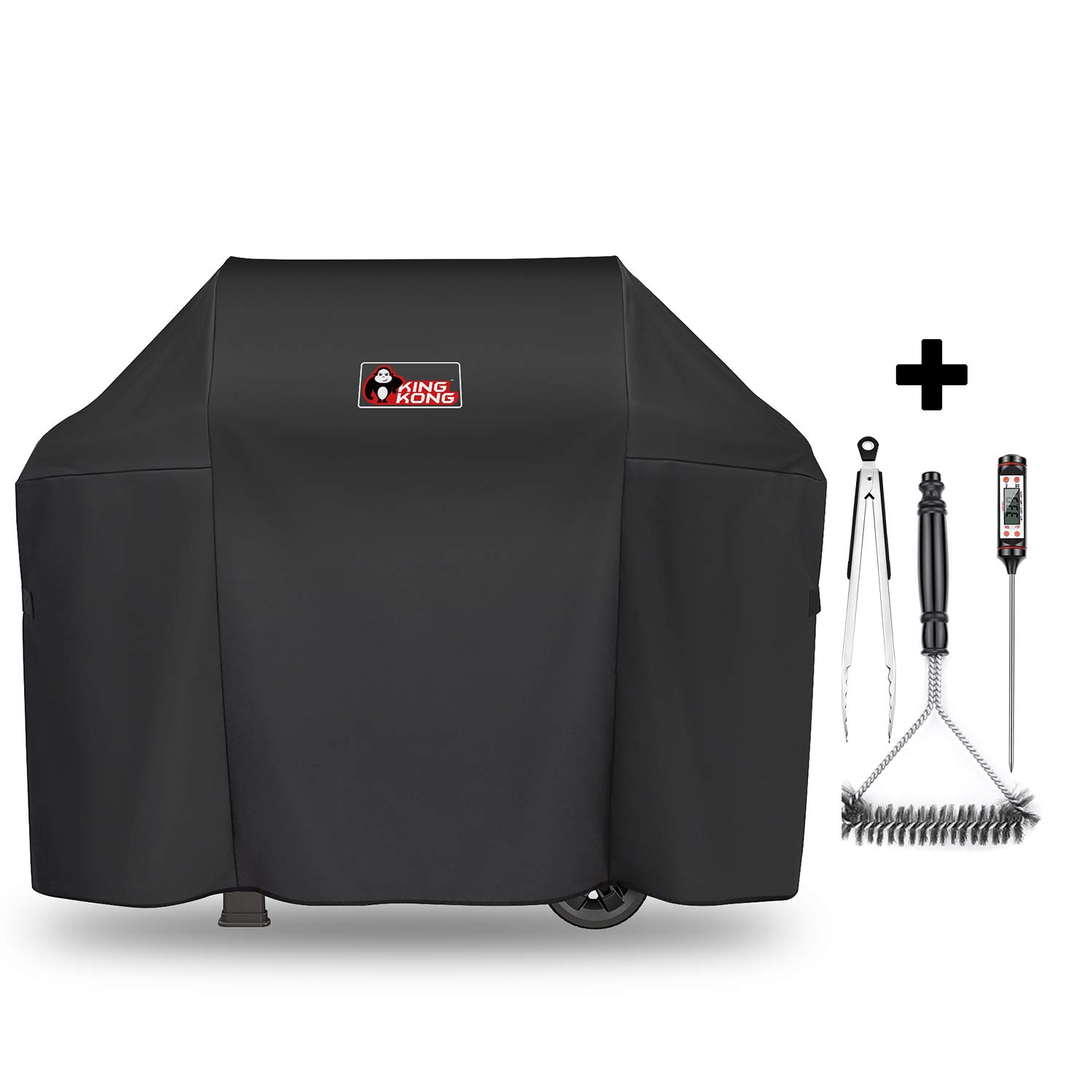 Kingkong 7139 Grill Cover for Weber Spirit II 300 and Spirit 200 Series (with Side Mounted Controls) Gas Grill Including Brush, Tongs and Thermometer by King Kong