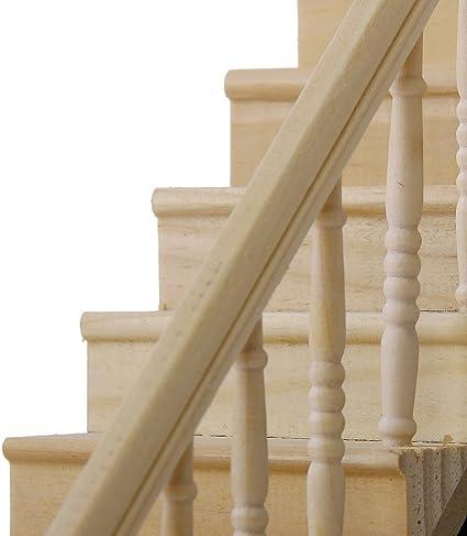 DDOQ Lujo 1:12 muñecas casa Escalera de Madera Modelo Mini con barandilla Derecha premontada Cuesta de 45 Grados: Amazon.es: Hogar