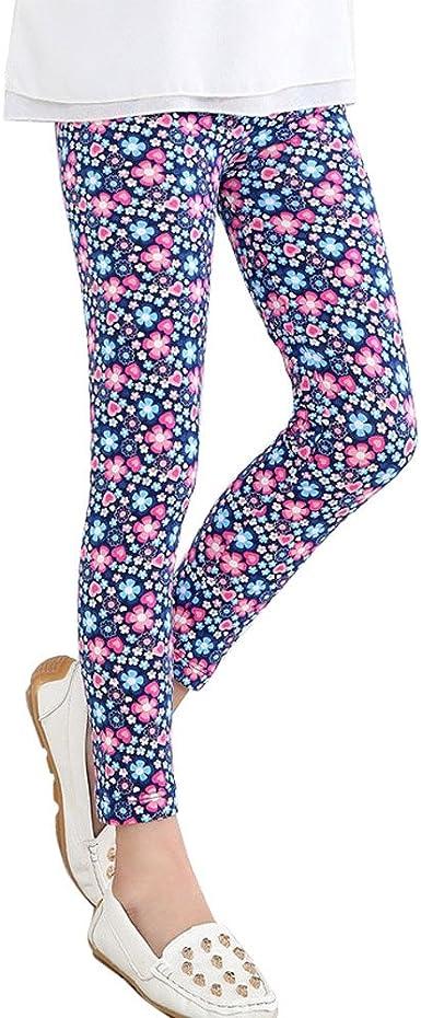 Covermason Nina Moda Multicolor Punto Y Flores Impresion Leggings Elastico Pantalones Para 2 13 Anos Chicas 12 13anos Armada Amazon Es Ropa Y Accesorios