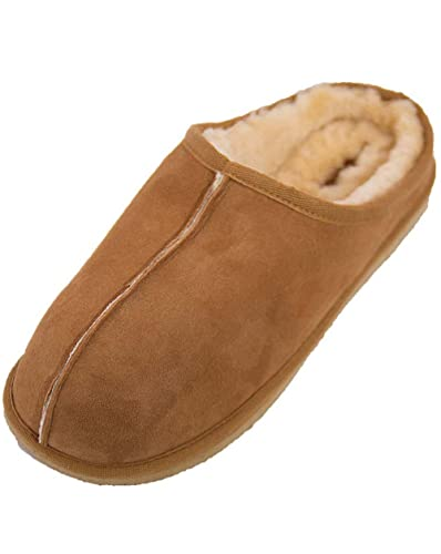 Mens Genuine Sheepskin Slip on Slippers in Chestnut by Shepherd of Sweden