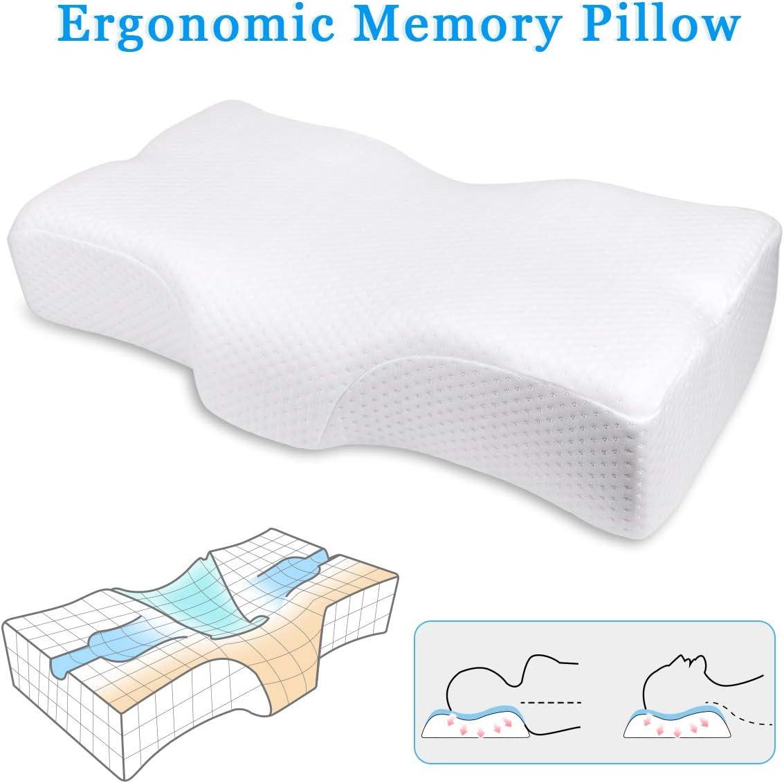 CN-hzq Almohada Espuma de Memoria,Almohada ergonómica que cura el dolor de cuello, posición correcta para dormir Relaja el músculo Protege la columna vertebral, para una noche maravillosa.