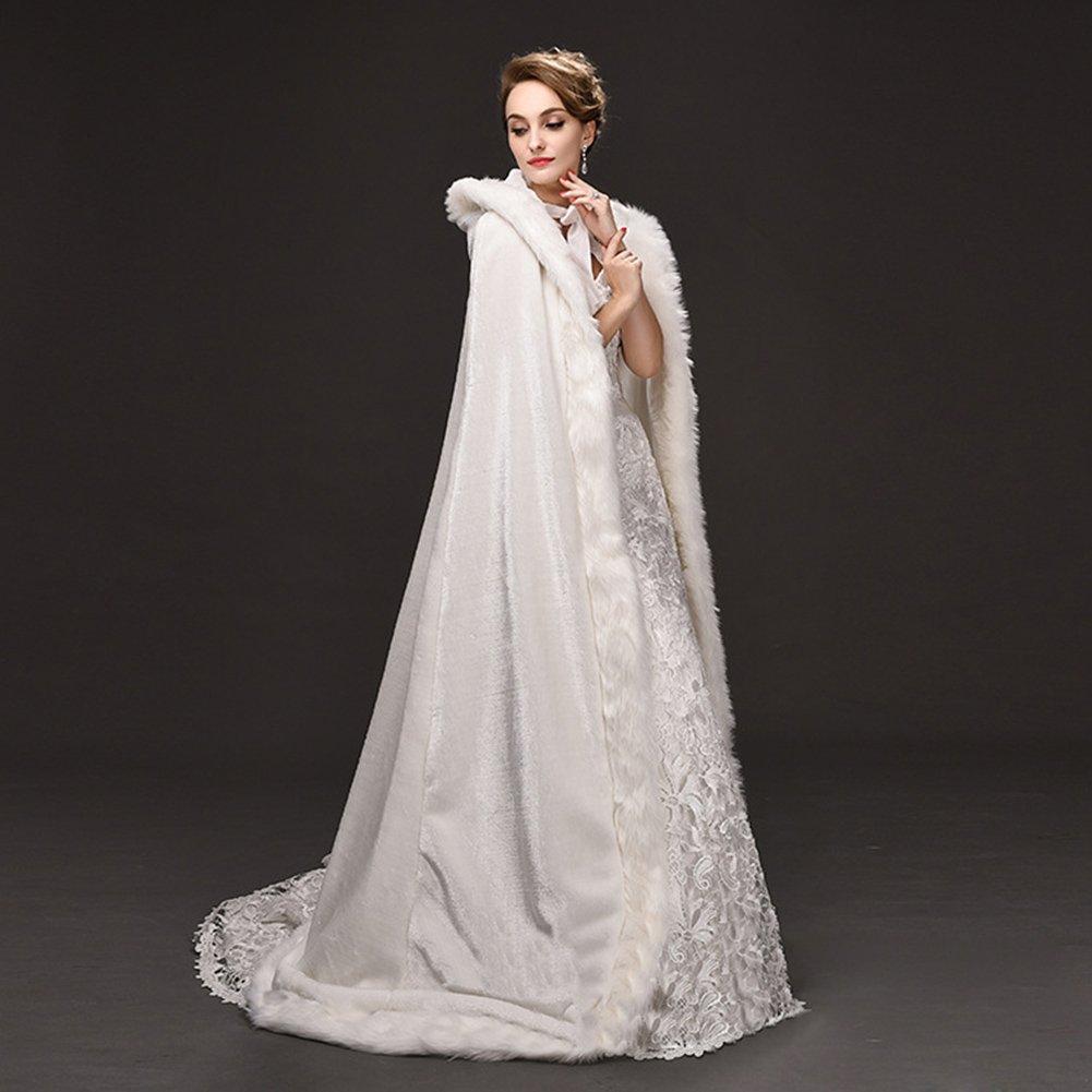 Telamee Wedding Cloak Velvet Long Bridal Cape Hooded Faux Fur Winter Wrap Stoles - Ivory -: Amazon.co.uk: Clothing