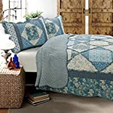 Cozy Line Home Fashions Dianna 100% COTTON Quilt Bedding Set, Blue Rose Floral Vintage Cottage Real Patchwork Reversible Coverlet Bedspread, Gifts for Women NEW Arrival (Blue Roses, King - 3 piece)