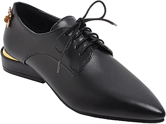 Pointed-Toe Low Heel Oxford Shoes   Oxfords