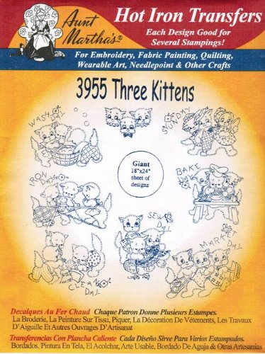 Three Kittens Aunt Martha's Hot Iron Embroidery Transfer