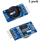Anmbest 2PCS DS3231 AT24C32 IIC High Precision Real Time Clock Module 3.3V to 5.5V with battery For Raspberry Pi and Arduino Beats DS1307