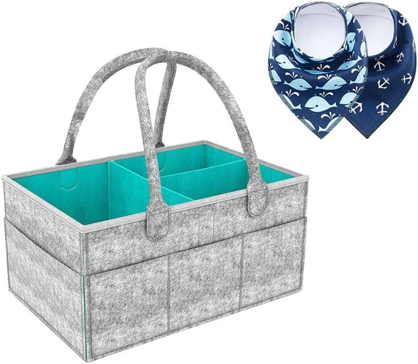 Pañales Organizador, Felly Cesta de almacenamiento para Pañales de Bebé Además trae dos Baberos, cesta de regalo para recién nacido, Multi Bolsillos y Compartimentos Intercambiables