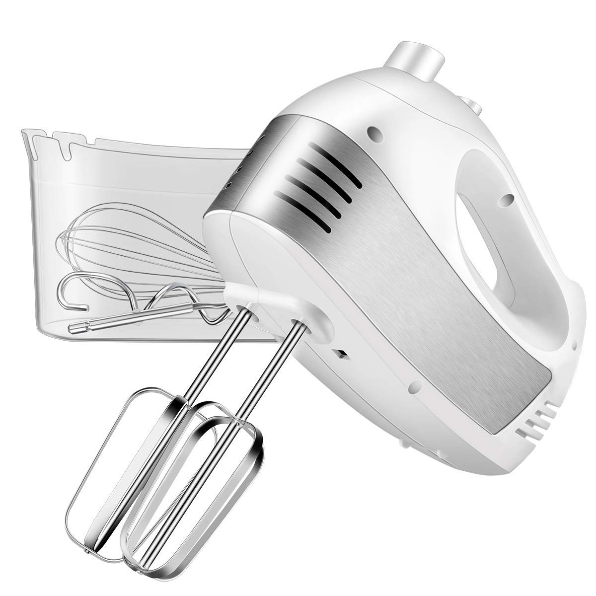 Hand Mixer Electric, Cusinaid 5-Speed Hand Mixer with Turbo Handheld Kitchen Mixer Includes Beaters, Dough Hooks and Storage Case (White) by CUSINAID