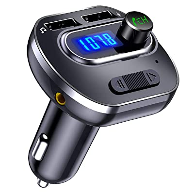 VicTsing Bluetooth FM Transmitter for Car, Wireless in-Car Bluetooth Adapter/w USB Port, Support Aux Input Output, TF Card and U-Disk, Hands-Free Calls