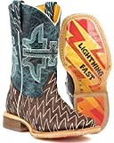 Tin Haul Shoes Boys' Thunderbolt Western Boot, Brown, 10 Medium US Toddler