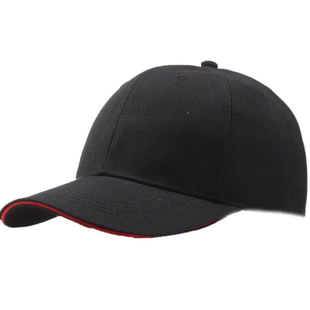 Unisex Classic Plain Baseball Cap Snapback Trucker Dad Hat Hip-Hop Adjustable Vintage Sun Cap Outdoors Summer Hat (Black)