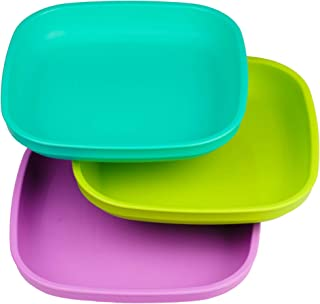 product image for Re-Play Made in USA 3pk Plates with Deep Sides for Baby, Toddler - Aqua, Lime Green and Purple (Mermaid)