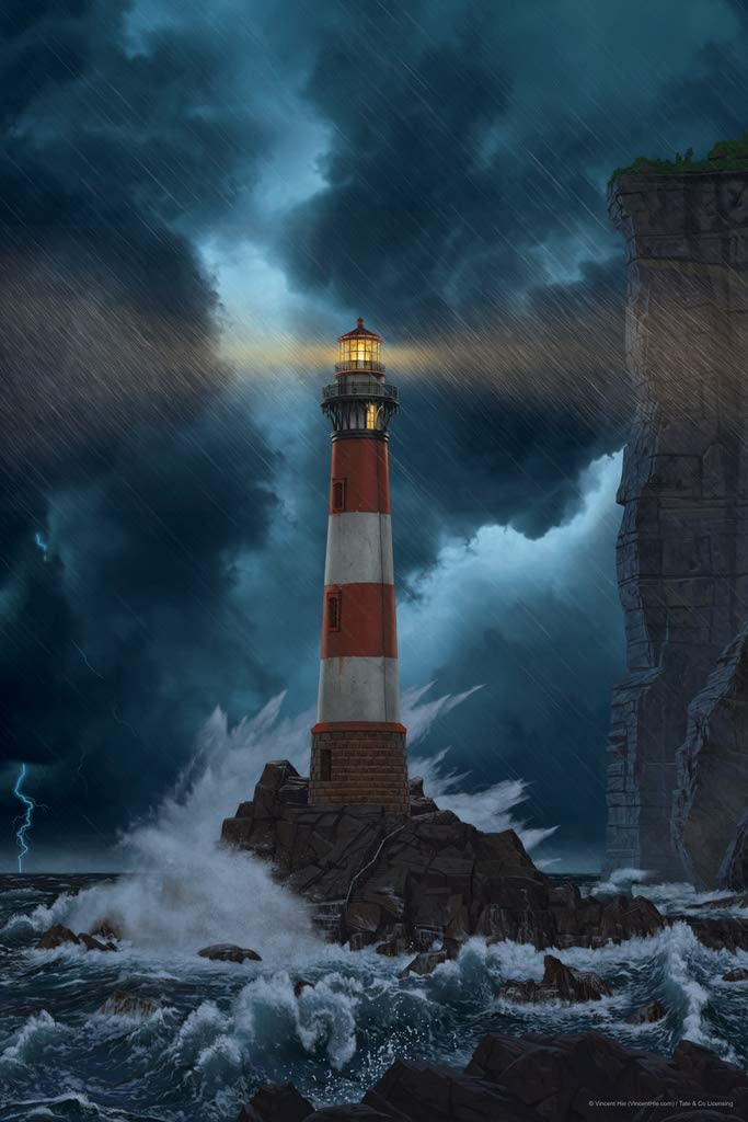 Unbreakable Lighthouse Stormy Seas by Vincent HIE Nature Cool Wall Decor Art Print Poster 12x18