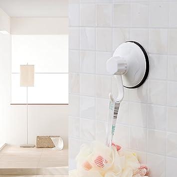 Super potente ventosa gancho soporte máximo 11Lb, organizador para toallas, albornoz y rascador de espalda, fuerte ganchos para baño cocina, ...