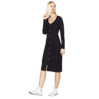 e47238d047 Red Herring Womens Black Ribbed Button Through Midi Dress 12  Red ...