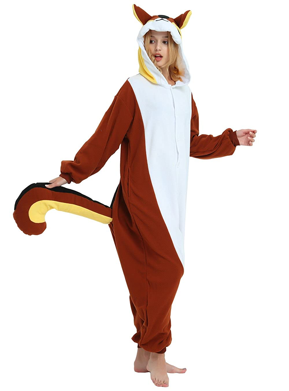 795b97f9d6e9 Amazon.com  Squirrel Onesie for Adult and Teenagers. Halloween Animal  Kigurumi Pajama Costume for Men and Women  Clothing