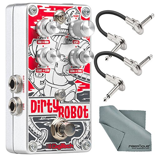(DigiTech Dirty Robot Stereo Mini-Synth Pedal and Accessory Bundle with 2x Cables + Fibertique Cloth)