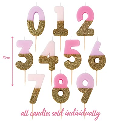 "Talking Tables Bday Number 7 Birthday Candle Cake Topper, Height 8cm, 3"", Pink: Kitchen & Dining"