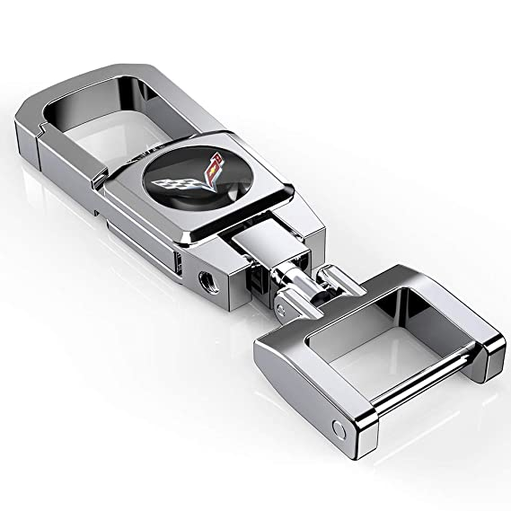 Kaolele Single Car Key Chain Key Ring for ChevyCorvette Gift for Man (Silvery)