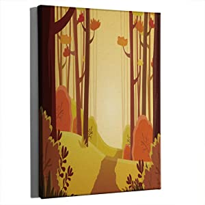 SOSHU Canvas Wall Art Decor Landscape of Forest Path in Autumn with Orange Yellow Bushes and Trees for Living Room Office Bedrooms Framed Artwork 16x12 Inch