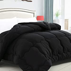 KARRISM All Season Down Alternative Queen Comforter, Winter Warm Comforter Ultra Soft Quilted Duvet Insert with Corner Tabs, Wavy Box Stitched, Luxury Fluffy & Lightweight (Black, 88 x 88 inches)