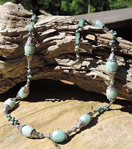 Amazonite Faceted Nuggets &, Aqua Fresh Water Pearl Necklace & Earrings