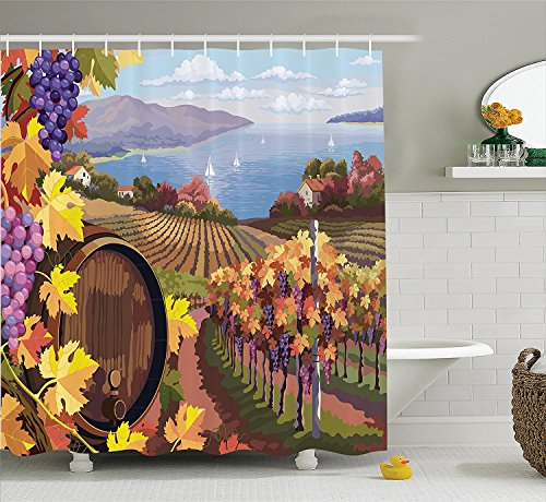 [Winery Decor Shower Curtain Set Countryside Landscape In Vineyard Agriculture Winemaking Season Grapes In Farm Art Print Bathroom Accessories Blue] (Grape Vine Halloween Costume)
