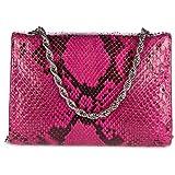 d Este womens clutch with shoulder strap handbag bag purse pitone fucsia