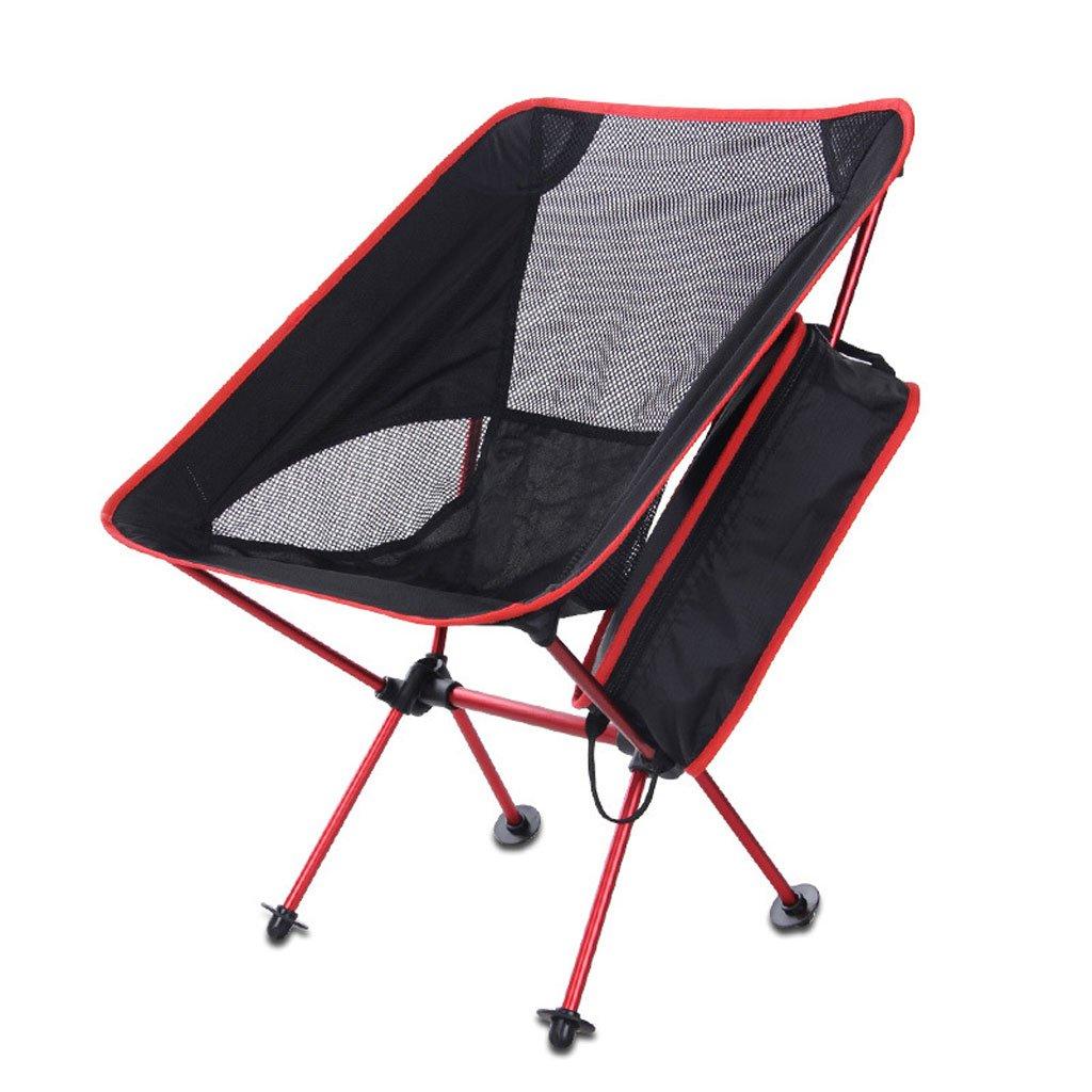Longwei Klappstuhl Portable Outdoor Moon Chair Ultralight Aluminiumlegierung Angeln Stuhl Camping Casual Einfaches Kind 120 Pfund (Farbe : ROT)