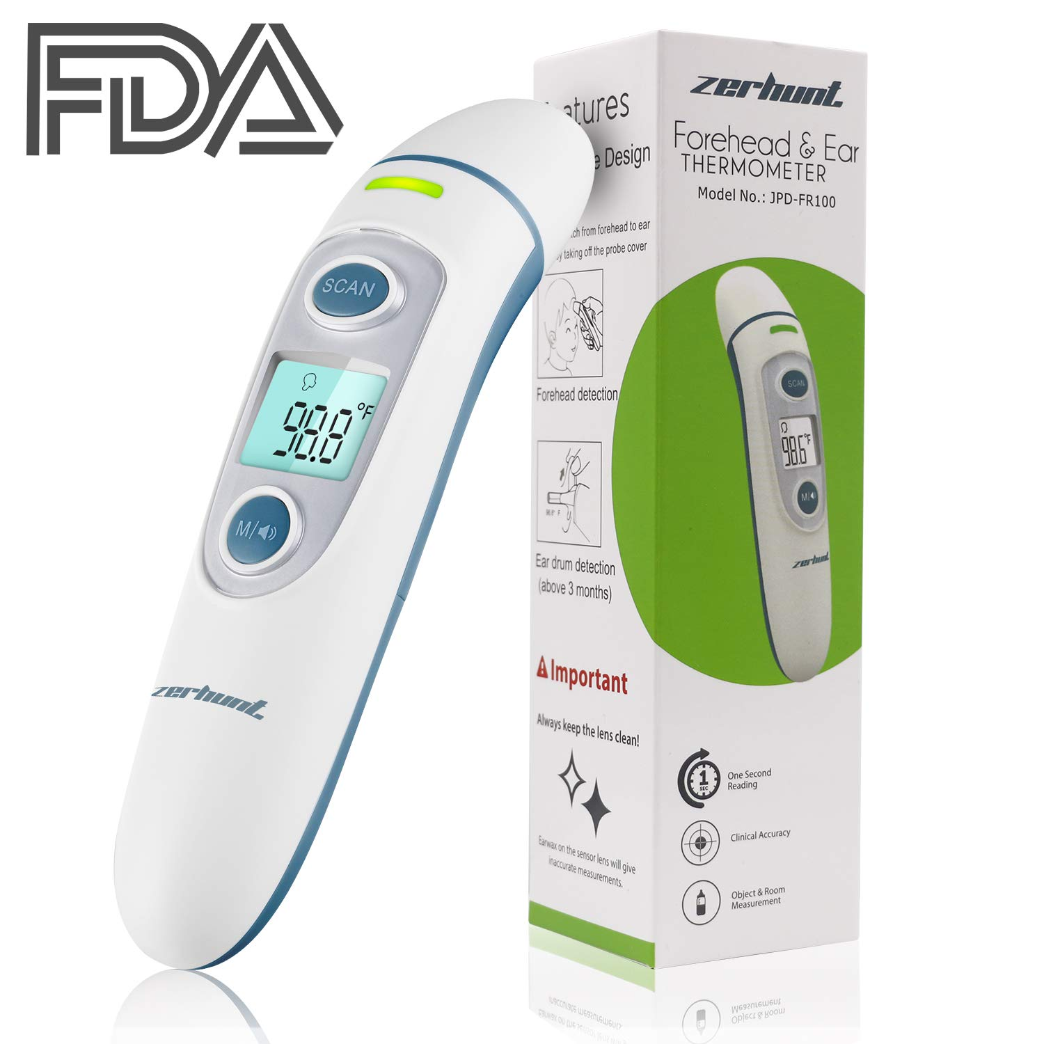 Forehead and Ear Thermometer,Zerhunt Baby Digital Fever Termometro,2018 Newest Professional Accurate Medical Temporal Infrared Thermometer for Newborn Infant Toddler Kids Adult - FDA & CE Approved