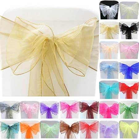 Time to Sparkle 22x280cm Organza Sashes Chair Cover Bows Wider Sash Fuller Bows for Wedding Party Birthday Decoration Aquamarine