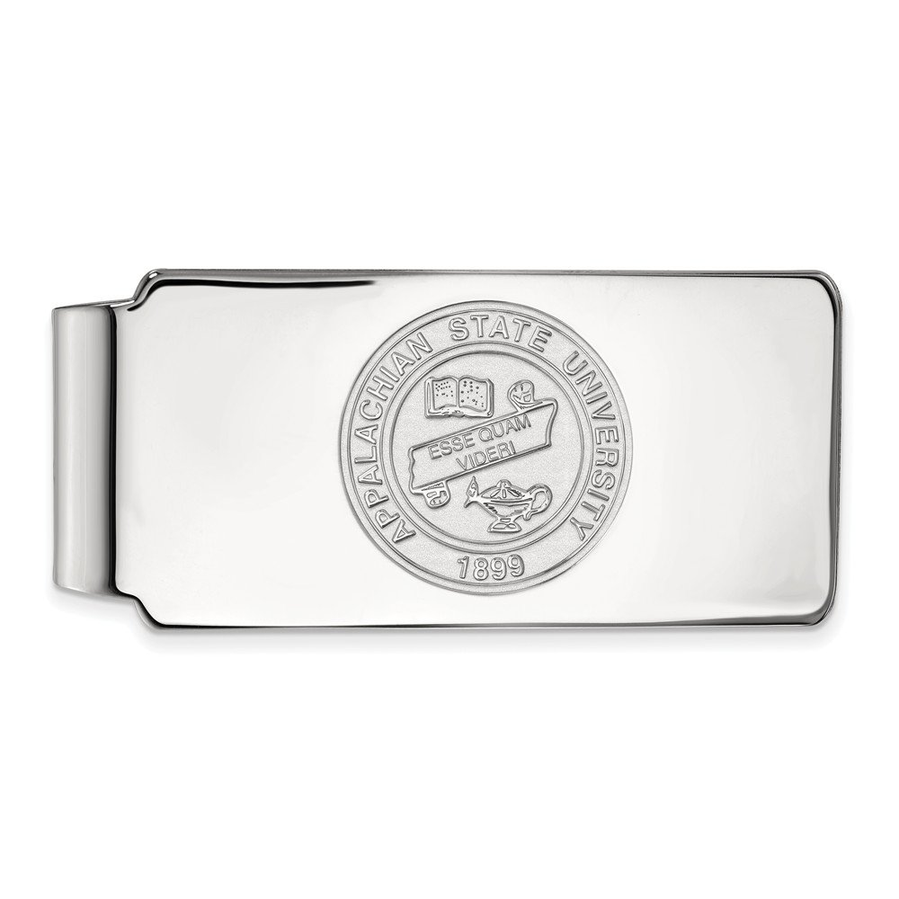Sterling Silver LogoArt Official Licensed Collegiate Appalachian State University ASU Money Clip Crest