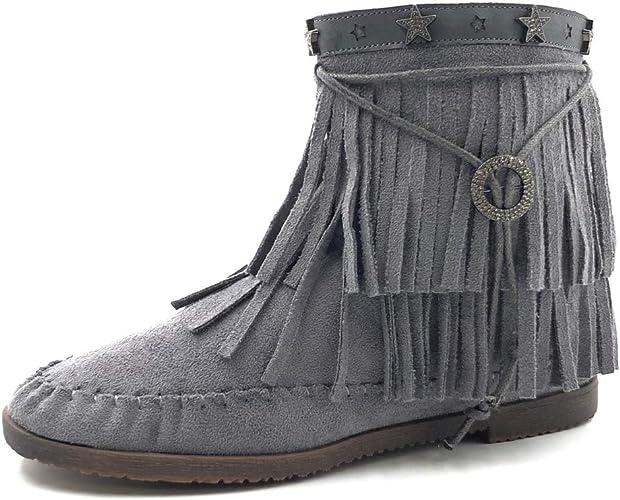 Angkorly Frange Talon Femme Chaussure CM Bottine Bloc 1 Indiennes Bottes Mode lanière métallique 5 trxBQshdCo