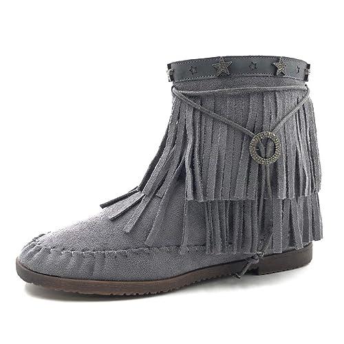 site officiel divers styles vente en ligne Angkorly - Chaussure Mode Bottine Bottes Indiennes Femme Frange lanière  métallique Talon Bloc 1.5 CM